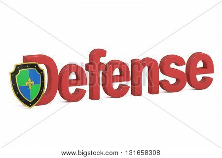 Defense concept with shield 3D rendering isolated on white background