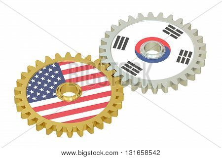 South Korea and United States relations concept flags on a gears. 3D rendering isolated on white background