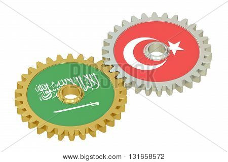 Turkey and Saudi Arabia relations concept flags on a gears. 3D rendering isolated on white background