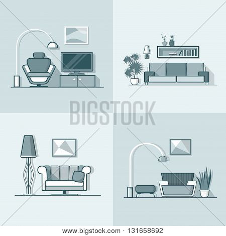 Condo accommodation living room cosy modern minimalism minimal interior indoor set. Linear stroke outline flat style vector icons. Monochrome icon collection.