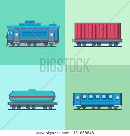 Locomotive Passenger Coach Carriage Cistern railway railroad transport set. Linear multicolor stroke outline flat style vector icons. Color icon collection.
