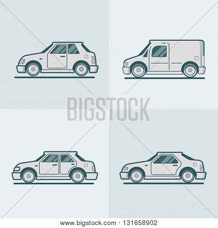 Motor passenger car van sportscar sedan hatchback road transport set. Linear stroke outline flat style vector icons. Monochrome icon collection.