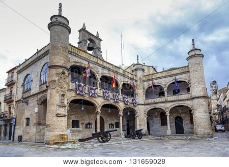 Ayuntamiento or old Town Hall 16th Century in Ciudad Rodrigo a small cathedral city in the province of Salamanca Spain.