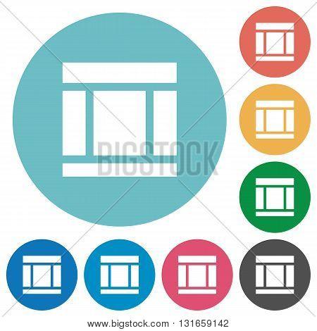 Flat three columns web layout icon set on round color background.