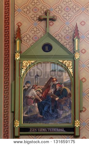 STITAR, CROATIA - AUGUST 27: 2nd Stations of the Cross, Jesus is given his cross, church of Saint Matthew in Stitar, Croatia on August 27, 2015