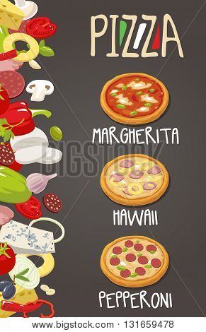 Whole Pepperoni Hawaiian Margherita pizza and the ingredients for the pizza. Isolated vector illustration. For menus icons web design infographic.