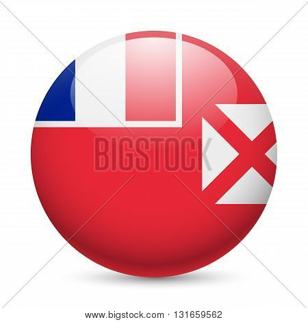 Flag of Wallis and Futuna as round glossy icon. Button with flag design