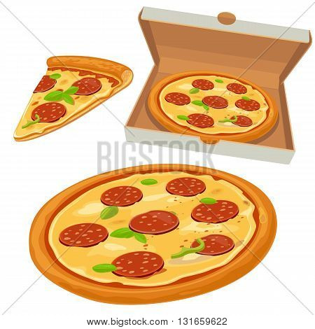 Whole pizza and slices of pizza pepperoni in open white box.Isolated vector flat illustration for poster menus logotype brochure web and icon.