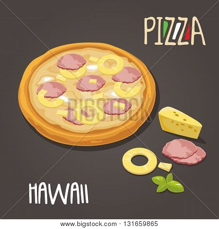 Whole pizza and slices of pizza Hawaiian in open white box. Isolated vector flat illustration on white background. For poster menus logotype brochure web delivery business food box and icon.