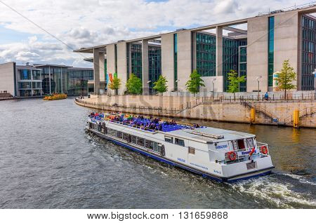 Spreebogen In Berlin With Buildings Of The German Bundestag