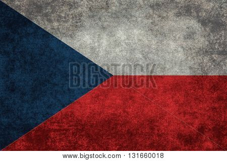Czech national flag with a vintage textured treatment