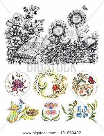 Ukrainian national motives. Hand drawn illustration in Ukrainian folk style.