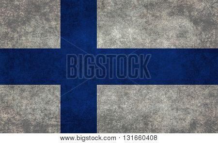 Finnish national flag with a vintage textured treatment
