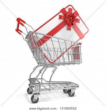 Gift card with blank space for text and shopping cart. 3D render illustration isolated on white background