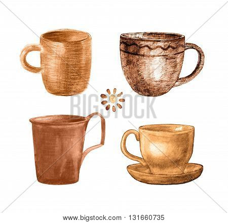 Coffee Cup Painted Set