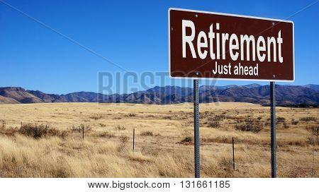 Retirement Brown Road Sign