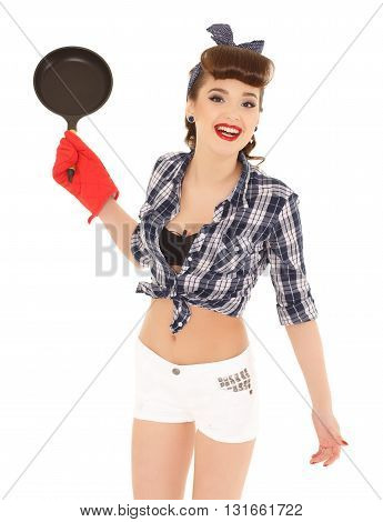 Young Woman With Frying Pan.