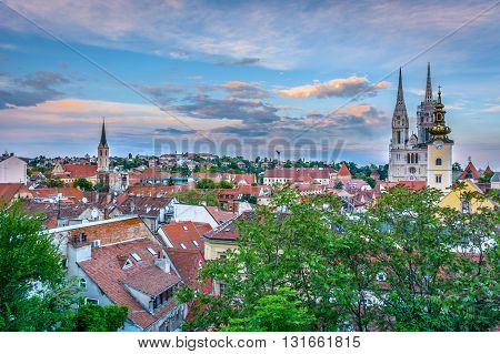 Beautiful sky over Zagreb, aerial view, capital town of Croatia.