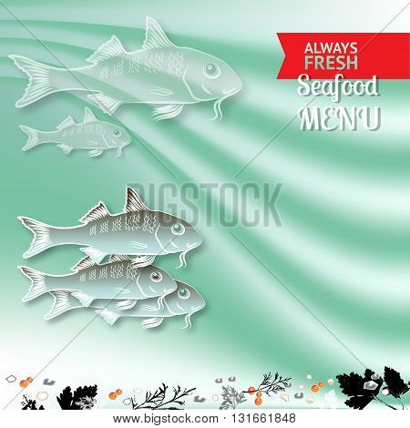 Vector seafood menu  composition with fishes and place for your text on wave aquamarine  background.