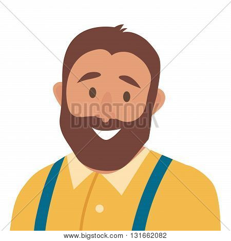 Flat cartoon happy man vector icon.Fat man icon illustration.Hipster character.Face of man icon.Face of fat people icons cartoon style.Isolated avatar on white background
