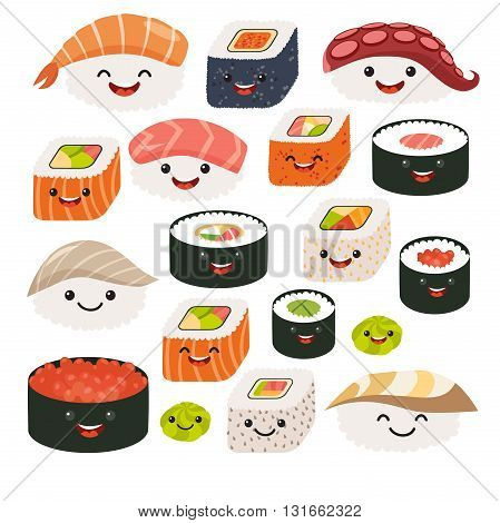 Emoji sushi characters.Cartoon japanese food. Vector set sushi cartoon characters. Funny characters sushi. Sushi roll funny set. Japanese food vector illustration isolated on white background