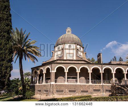 Catholic chapel on Mount of Beatitudes near Tabgha at the Sea of Galilee Israel
