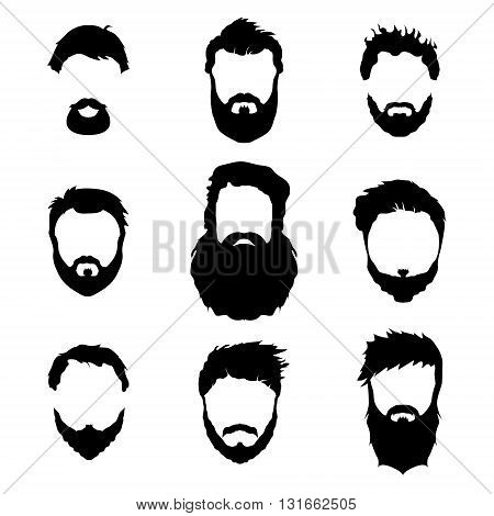 Men's fashion, silhouette, style, set of beards, vector illustration on white background.