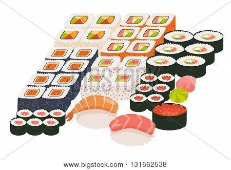 Sushi and sashimi set. Shrimp sushi Sushi roll caviar. Japanese asian restaurant food cartoon style. Vector illustration isolated on white background flat