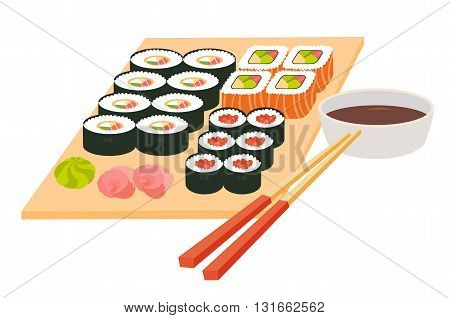 Sushi set.Japanese seafood vector.Asian restaurant food on table.Big sushi set with chopsticks soy souse rice with fish fillet cartoon style.Vector illustration isolated on white background flat