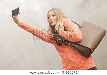 Lovely Fashion Woman In Park Taking Selfie Photo.
