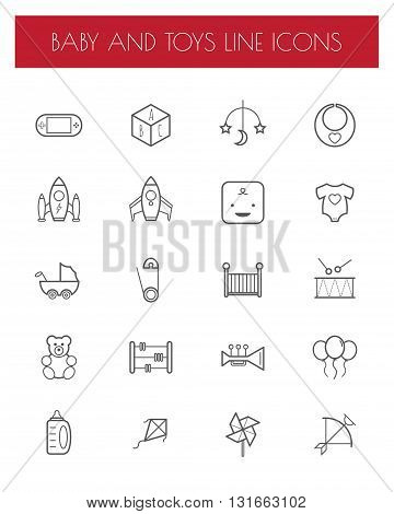 flat line toy sign and symbol icon set.