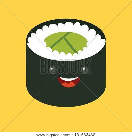 Fun sushi vector cartoon character. Cute sushi roll. Japanese food. Sushi with cute faces. Happy sushi characters. Vector sushi icon. Vector illustration sushi. Shusi isolated on white background