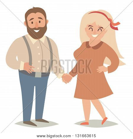 Fat people. Plus size people. Happy fat couple man and women. Flat vector illustration. Cartoon characters on isolated background