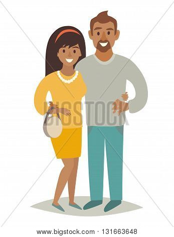 African family in love. African man and african woman couple. Cartoon characters happy family. African-American family. Flat style vector illustration isolated on white background