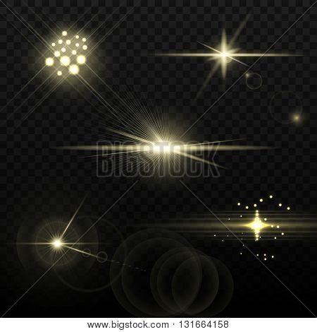 Set of transparent stars and sparkles elements ready for any background with screen or add blending modes. Vector illustration