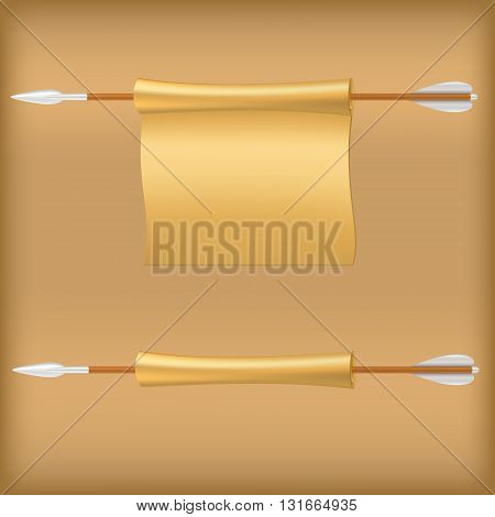 Antique arrow with scroll. Vector illustration. Arrows vector.