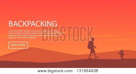 Climbing, hiking, backpacking, walking. Outdoor, sport, nature. Flat design. Outdoor recreation concept. Travel with backpack. Camping.