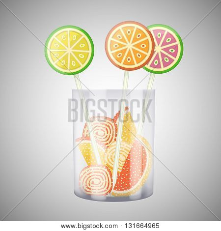 Lollipops and candies in cup. Sweet candies and lollipops. Vector illustration.