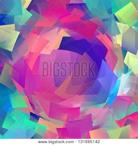 Abstract coloring horizon background with visual cubism and pinch effects