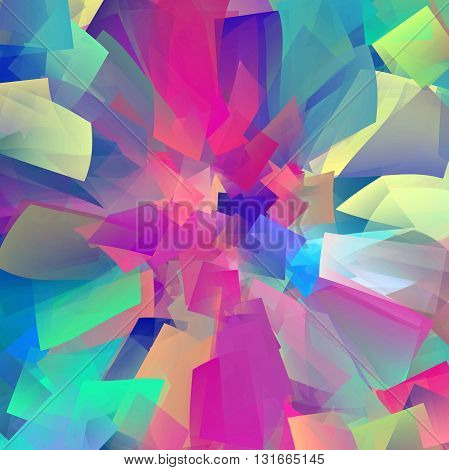 Abstract coloring horizon gradients background with visual cubism and pinch effects