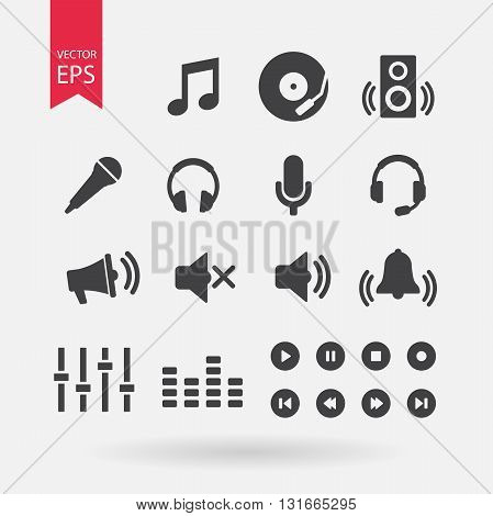 Sound icons set vector. Music signs isolated on white background. Audio elements for design. Vector flat design