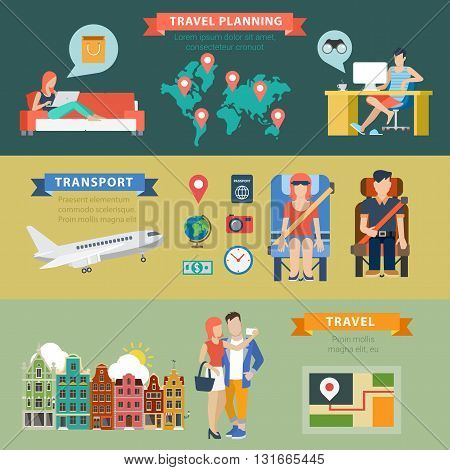 Travel vacation planning transport ticket vector infographics
