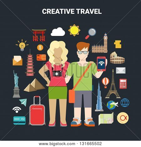 Travel vacation tourism icon smartphone world places vector