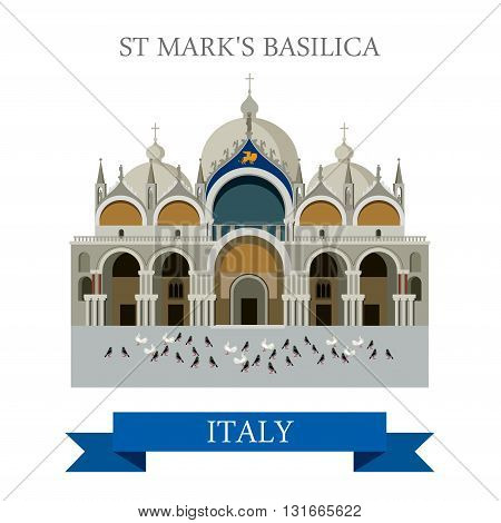 Saint Mark Basilica Venice Italy flat vector attraction landmark