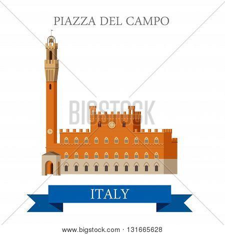 Piazza del Campo Venice Venezia Italy flat vector sight landmark