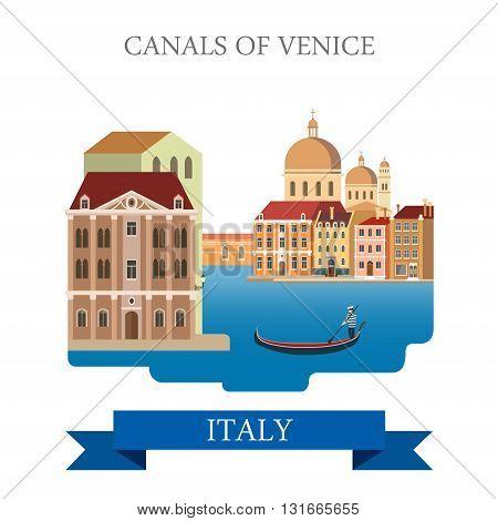Canals of Venice gondola Italy flat vector attraction landmark
