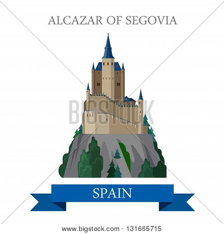 Alcazar of Segovia Spain flat vector attraction sight landmark