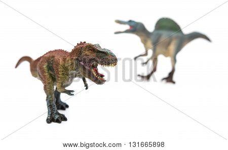 tyrannosaurus in front of spinosaurus on white selective focus