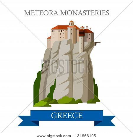 Meteora Monasteries Greek Orthodox Greece flat vector attraction