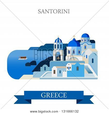 Santorini Aegean Sea Islands Greece flat vector attraction sight